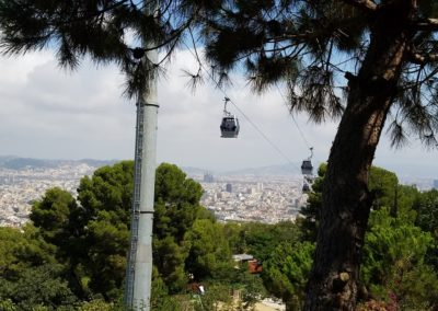 cable car ride up the hill at Montjuic